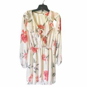 Long sleeve white short pink floral dress sheer